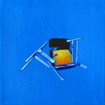 Joshua Petker, Chair on Blue, 2012, acrylic and ink on canvas, 12x12""