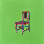 Joshua Petker, Chair on Green, 2012, acrylic and ink on canvas, 12x12""