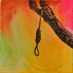 Joshua Petker, Hanging, 2012, acrylic and ink on canvas, 12x12""