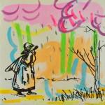 "Joshua Petker, Sad Girl, 2012, acrylic and ink on canvas, 12x12"""