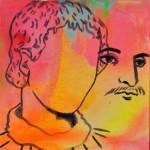 "Joshua Petker, Off Body Portrait, 2013, acrylic and ink on canvas, 12x12"""